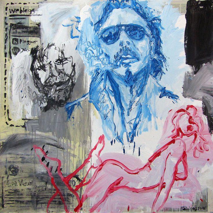 Fragments 5, 2016 Acrylic and collage with newspapers on canvas. 100 x 100 cm Fragmentos 5, 2016 Acrílico y collage con periódicos sobre lienzo. 100 x 100 cm