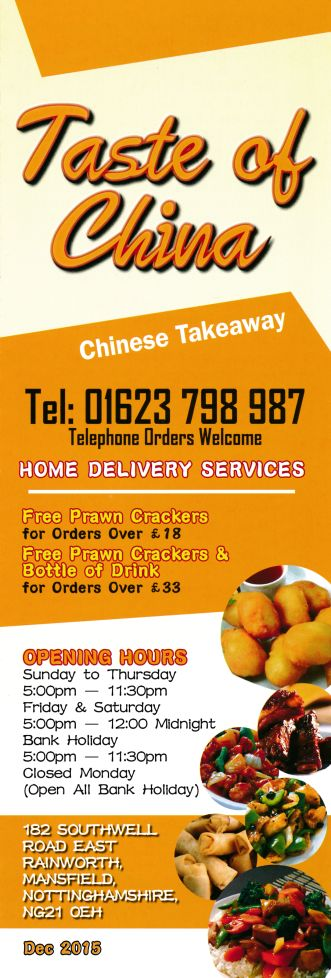menu for taste of china on southwell road east in