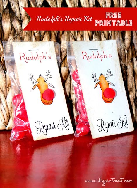 DIY Rudolph Treat Bags ~ filled with red Cherry Sour Candies to look like the famous reindeer's signature noses... free printable #Rudolph #ShineBright