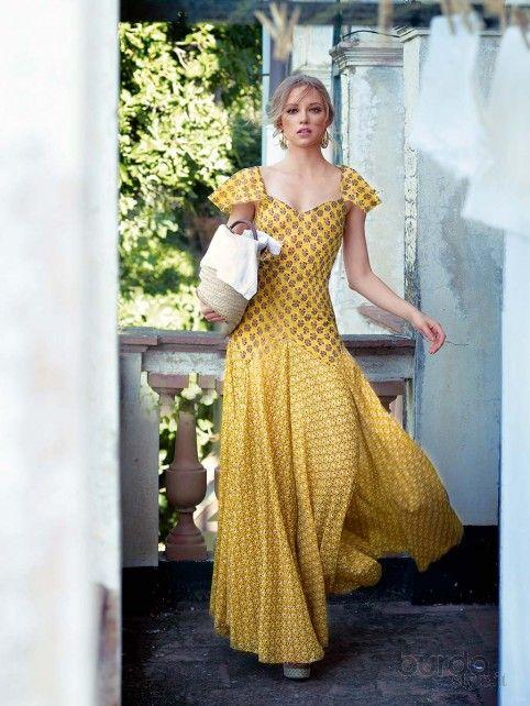 Maxi abito scollo a cuore - Shop & Cartamodelli Il mondo dei cartamodelli e del cucito