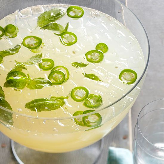 Try a new twist on traditional lemonade with this Sparkling Basil Lemonade with jalapenos. Recipe: http://www.bhg.com/recipe/sparkling-basil-lemonade/?socsrc=bhgpin051812: Gardens Ideas, Fun Recipes, Cocktails With Lemonade, Basil Lemonade, Food, Libations, Lemonade Sparkle, Sparkle Basil, Nom Nom
