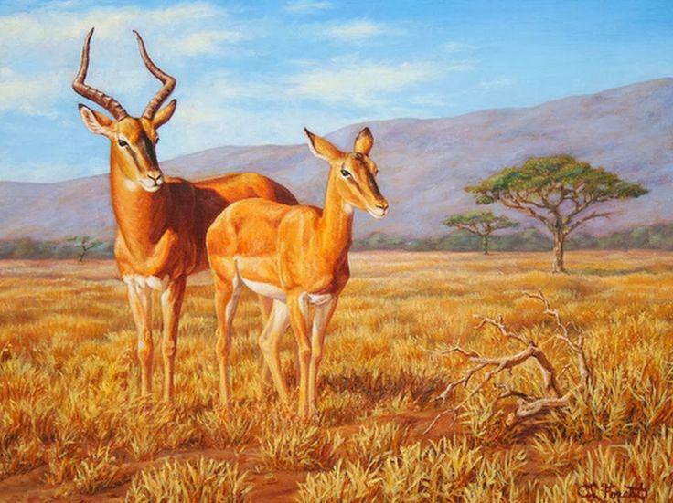 pinturas-oleo-paisajes-con-cascadas-y-animales