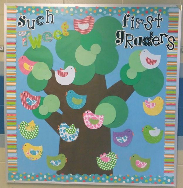 Tweet bulletin board using CTP's Dots on Turquoise borders and letters. Great bulletin board idea!