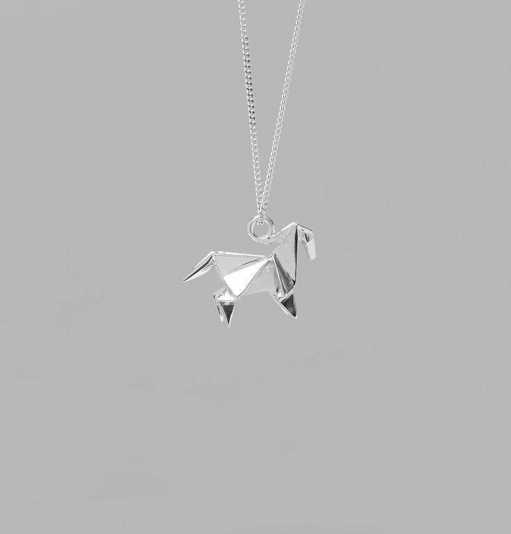 Origami Jewellery Silver Mini Horse Long Necklace