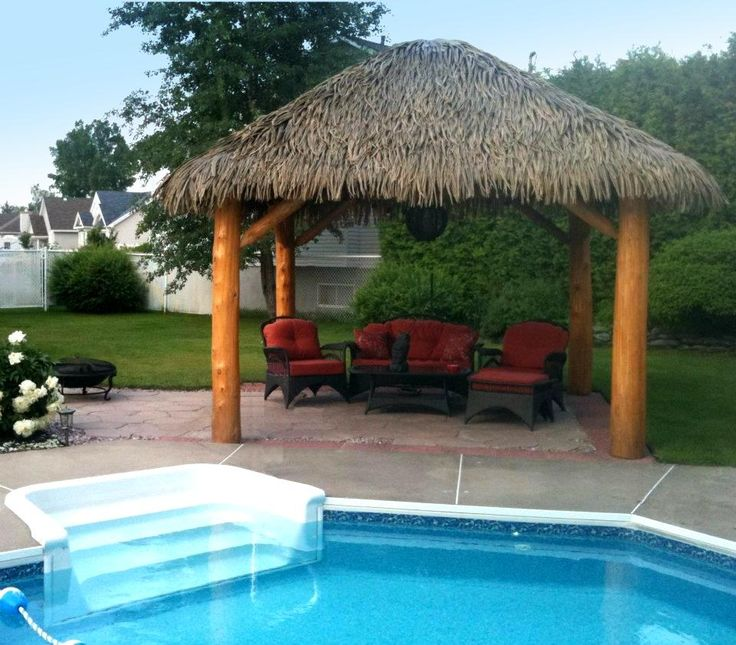 Outdoor Kitchen With Thatched Gazebo Outdoor In 2019: Natural Cedar Gazebos With Thatched Roof
