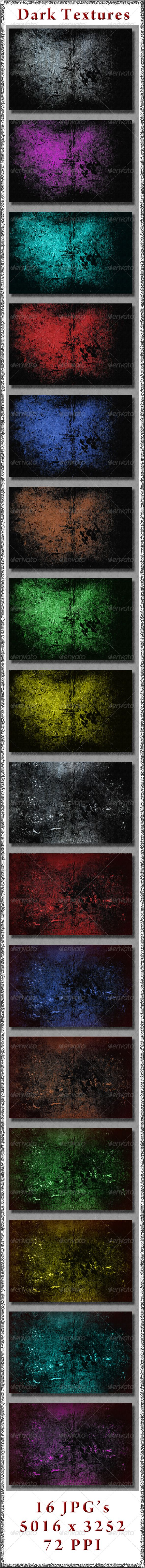 Dark Textures  #GraphicRiver         16 JPG's of Dark Textures  	 All JPG's are 5016×3252 / 72 ppi     Created: 7March13 GraphicsFilesIncluded: JPGImage Layered: No MinimumAdobeCSVersion: CS PixelDimensions: 5016x3252 Tileable: No Tags: abstract #abstracts #art #backdrop #background #bundle #bundled #color #concept #dark #design #dirty #drama #dramatic #effects #emotional #grunge #horror #modern #pack #package #patterned #webcolors