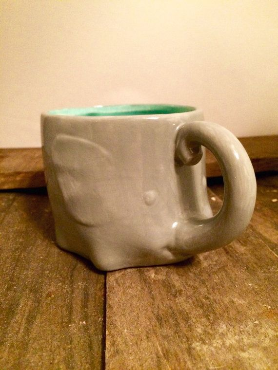 Elephant Mug Ceramic Cup Elephant Coffee Mug Gray Teal Elephant Cup Tea Cup  Hand Made Ceramic Mug