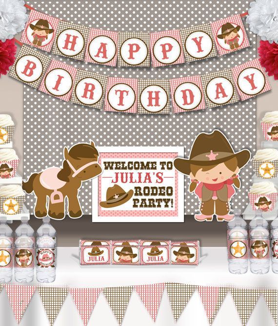 Cute Cowgirl Rodeo Birthday Party Printable  Wall Banner  by PNArt