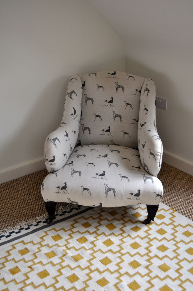 Antique Chair Upholstered In EMILY BOND Long Dog Fabric With Ikea Rug.  Would Love This