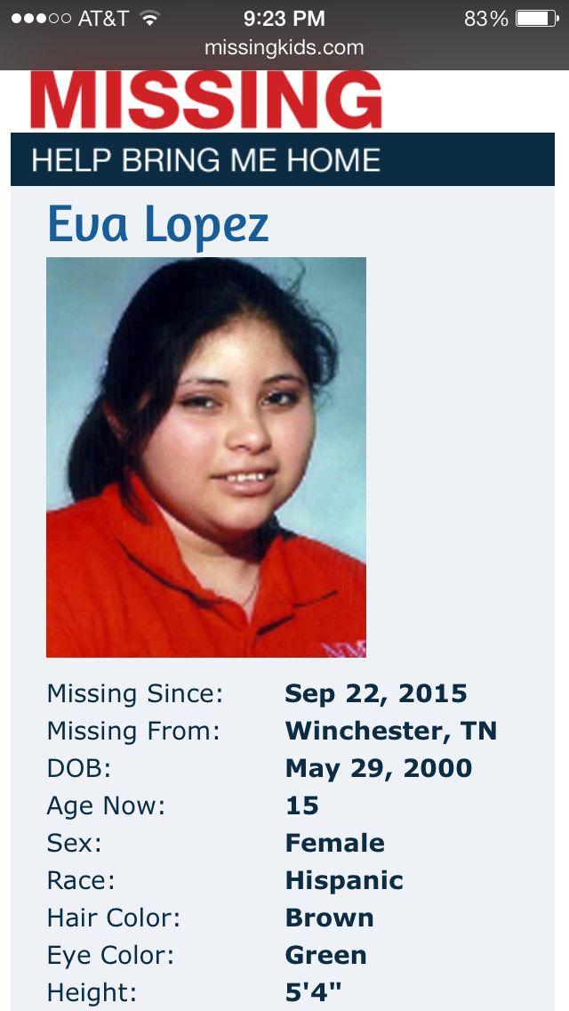 "'Endangered Child Alert' still active for missing Franklin County teenager Eva Lopez (Source: TBI) A TBI Endangered Child Alert remains active for a 15-year old missing out of Winchester. According to the TBI, Eva Alejandra Lopez was last seen September 22 at her home. She is possibly with a 25-year old man named Avaro Gamez Martinez, who is wanted for six counts of aggravated statutory rape. Eva Alejandra Lopez is Hispanic, is 5'4"", weighs 150 pounds, and has brown hair and green eyes. Any"