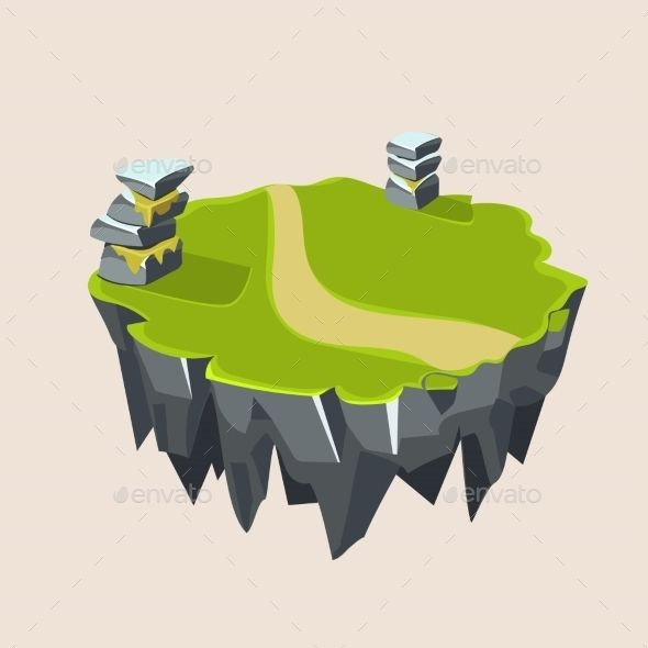 Cartoon Stone Grassy Isometric Island For Game - Landscapes Nature