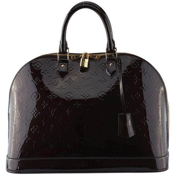 Pre-Owned Louis Vuitton Alma GM Amarante Vernis Leather ($2,280) ❤ liked on Polyvore featuring bags, handbags, purple, genuine leather purse, handbag satchel, louis vuitton handbags, purple satchel handbag and leather purses