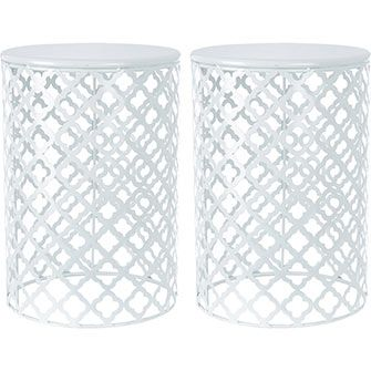Set Of Two White Side Tables