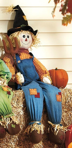 "41"" Stuffable Little Boy Halloween Scarecrow Porch Home Sitter"