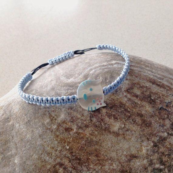 Cat charm Blue macrame bracelet friendship by keepcalmandbeadon, £9.00