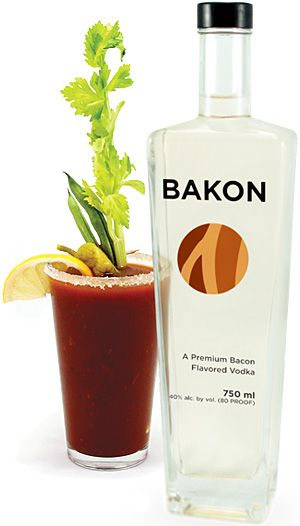 Bakon Vodka    No, that's not a typo. Bakon Vodka ($30) is a new premium-quality potato vodka infused with a savory bacon flavor. Distilled from Idaho potatoes and possessing a perfect hint of peppery bacon flavor. Great in a bloody mary, good when paired with scotch, not so hot in a white russian — unless you like the way they taste on the way back up — but what we really, really want is a recipe for a bacon cheeseburger.