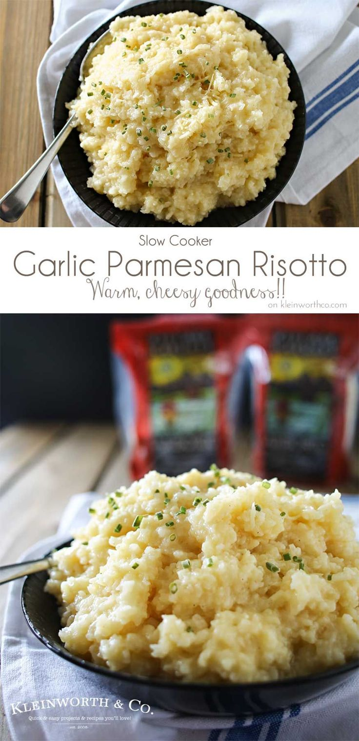 This easy slow cooker Garlic Parmesan Risotto is so deliciously cheesy. The perfect warm winter dinner to satisfy all your comfort food cravings. YUM! @VillageHarvest #VillageHarvestInspired #ad
