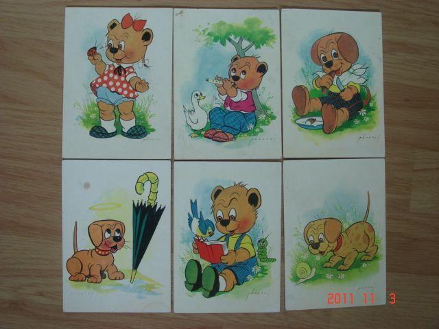 Pohľadnice s kreslenými medvedíkmi