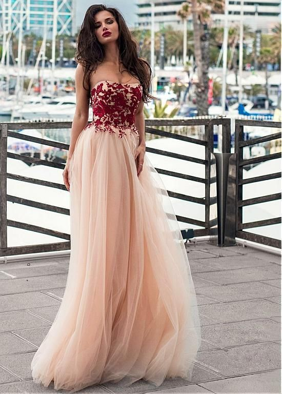 Unique Champagne Long Evening Dress Tulle Strapless Neckline A-line Prom Dress With Lace Appliques Prom Gowns Cheap by DRESS, $182.00 USD