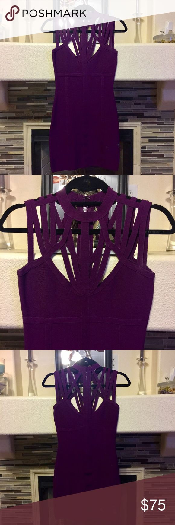 🎉SALE Bebe Strappy Purple Bandage Dress LIKE NEW! Gorgeous purple bandage dress from Bebe, Strappy design on the neck & shoulder area. Zips up the back. Worn once for a couple of hours only and in EXCELLENT condition, LIKE NEW basically! bebe Dresses Mini