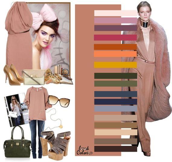 Розово-бежевый цвет сморится выгоднее на загорелой коже. Розово-бежевый сочетается с такими оттенками, как бледно-розовый, лиловый, темно-лиловый, кисельный, рыжий, бледно-оранжевый, цветом охры, болотно-зеленым, цветом полыни, серо-синим, кобальтовым, серо-голубым, нейтрально-бежевым, цветом кофе с молоком, светло-бежевым, серо-коричневым и темно-коричневым цветами.