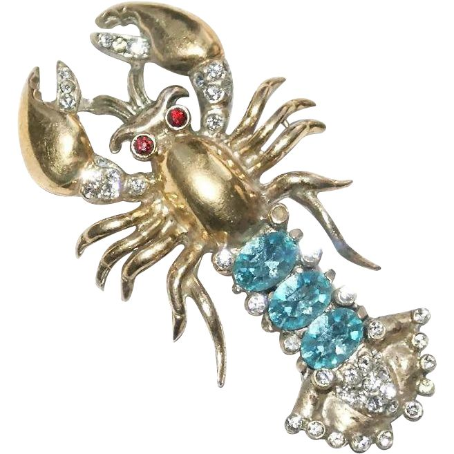 Sold - This Corocraft sterling lobster is signed COROCRAFT Sterling on a plaque   with the Pegasus. The pin is patent 146919 issued to Adolph Katz on June