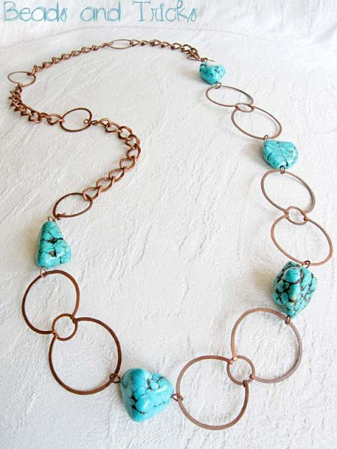 Collana rame e turchese   Handmade by Beads and Tricks