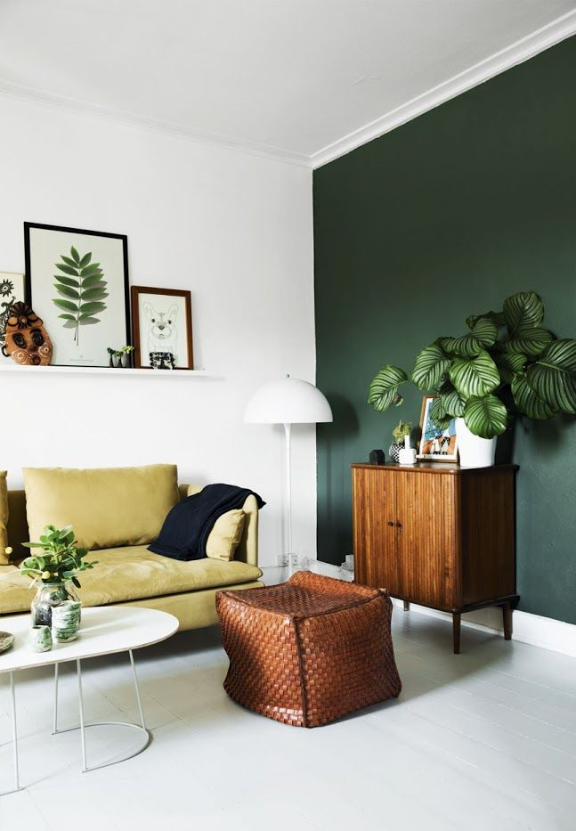 green wall, danish modern, retro, houseplants, wire planter, mustard yellow sofa, scandinavian interior, apartment, boho chic, botanical decor
