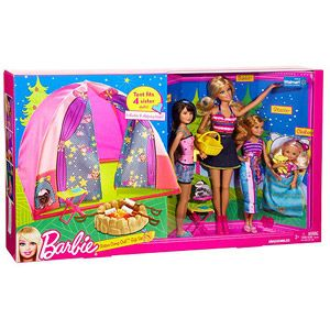 Everything that M has been asking for, the Barbie sisters.  Barbie Family Tent Buildup & 4-Doll Play Set