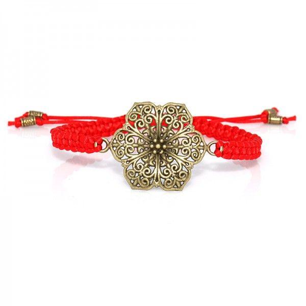 Makramee Armband Rot Blüte   Salome Schmuck