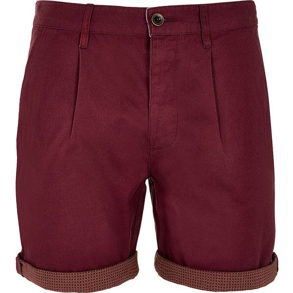 TOPMAN Red Pattern Turn Up Shorts ($26) ❤ liked on Polyvore featuring men's fashion, men's clothing, men's shorts, shorts, men, red, mens red shorts, mens shorts, men's apparel and mens leopard print shorts