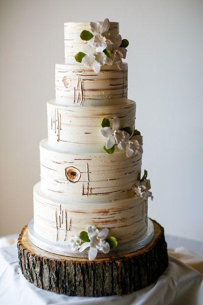 nice Pièce montée 2017 - Idée de gâteau de mariage rustique - gâteau de mariage à cinq niveaux avec faux-bois, fleurs à sucre ...