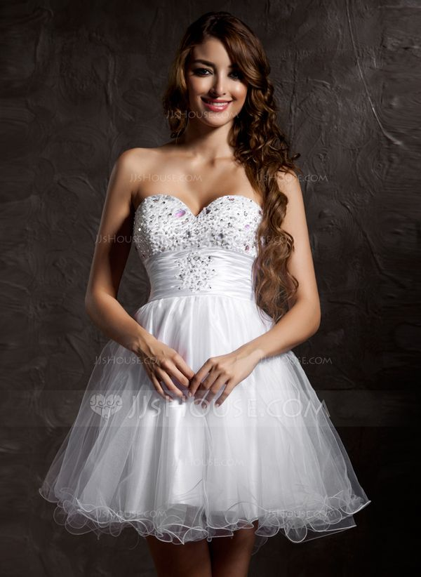 A-Line/Princess Sweetheart Short/Mini Tulle Homecoming Dress With Beading (022020899) - JJsHouse