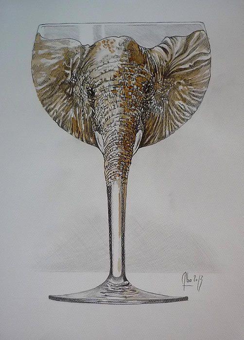 """"""" Éléphant rose """" dessin et vin rouge sur papier"""
