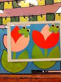 Lentebloem met kikker ~ www.knutselboom.nl
