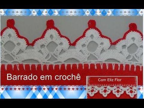 Barrado em crochê para panos de pratos modelo 86 - YouTube