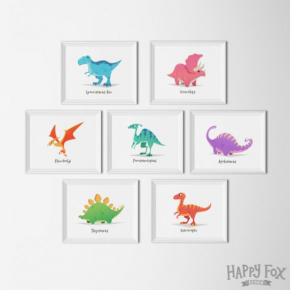 Set de 7 art imprimable sticker dinosaure par HappyFoxDesign