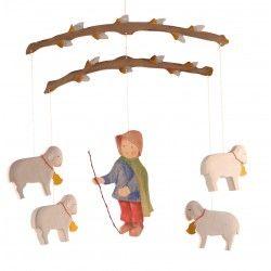 ♡Ostheimer Mobiel herder met schapen♡  Mobiel van herder met schaapjes. ~Ostheimer~