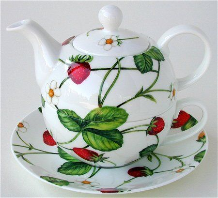 Strawberry Tea for One stacking teaset (teapot, cup and saucer) decorated with strawberry leaves, fruit and vine, ceramic