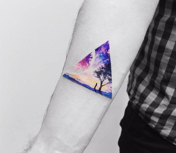 Triangular Surreal Watercolor Tattoo by Vitaly Kazantsev