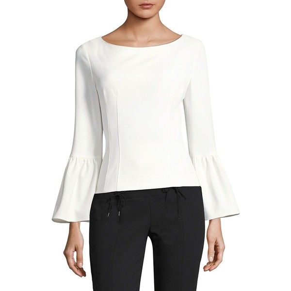 Tibi Crepe Boatneck Top ($325) ❤ liked on Polyvore featuring tops, bell sleeve tops, white corset top, zip top, long corset and long white top