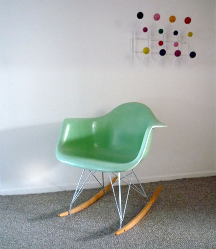 eames rocking chair green turquoise baby girls sofa rockers we have