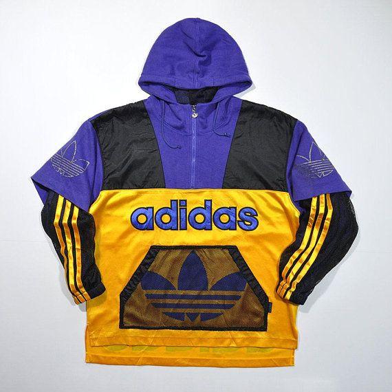 3ad44888383 Rare Vintage 80s 90s ADIDAS Hip Hop Hoodie Half Zip Pullover Jumper Jersey  Sweatshirt Retro ADIDAS Big Logo Streetwear Hypebeast Old School