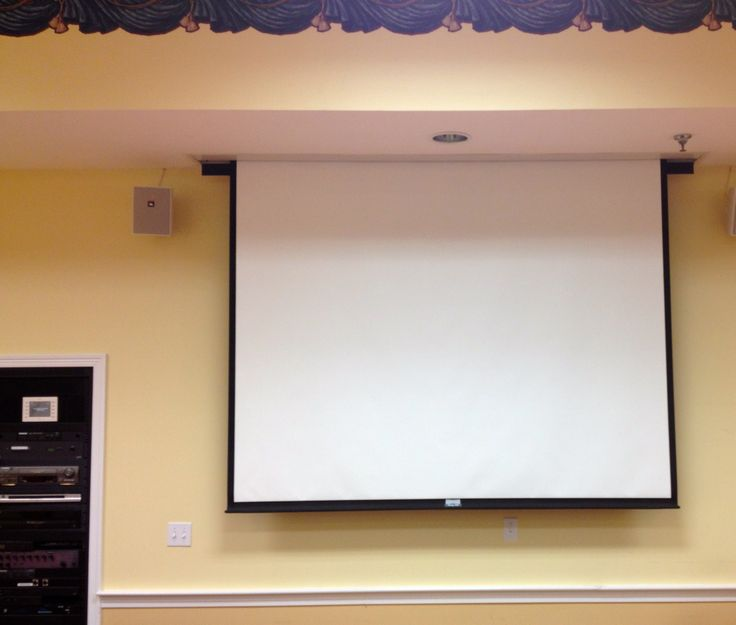 Theater Room With Hidden Projector: Retractable In Ceiling Projector Screen