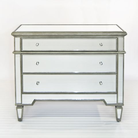 cary silver mirrored chest worldsaway furniture - Mirrored Dresser Cheap