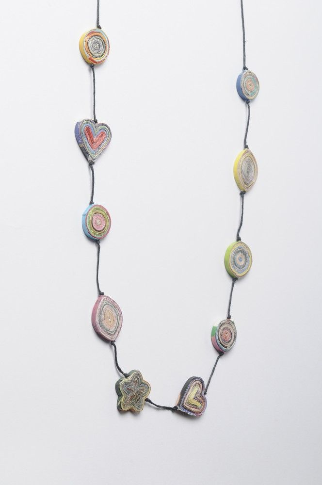 Mixed shapes of magazine-paper necklace