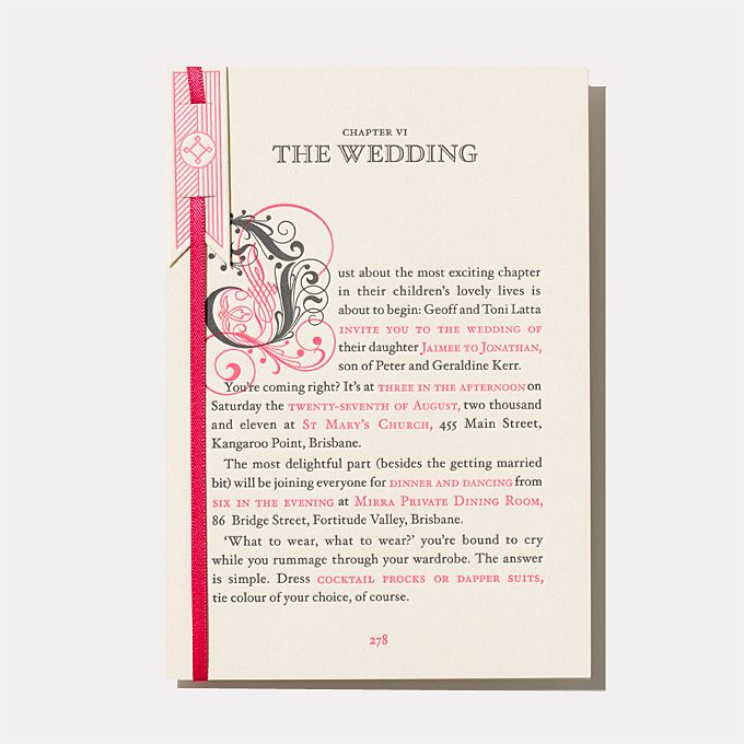 """Brides.com: 25 Creative Wedding Invitations for Every Style of Celebration. A Fairy-Tale Letterpress Wedding Invitation. """"Storybook Wedding"""" invitation, $1,300 for 100 invitations (including """"found"""" storybook envelope liners), The Hungry Workshop  See more whimsical wedding invitations."""
