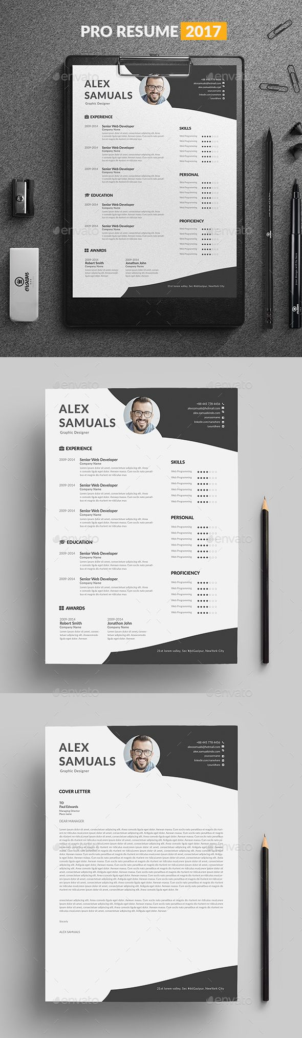 "Resume Template by linzo91 Resume8.27x11.69 with 0.25"" bleeds Resume & Cover letter 300 DPI, CMYK, Print ready file Very Easy to Customize & replace the pict"