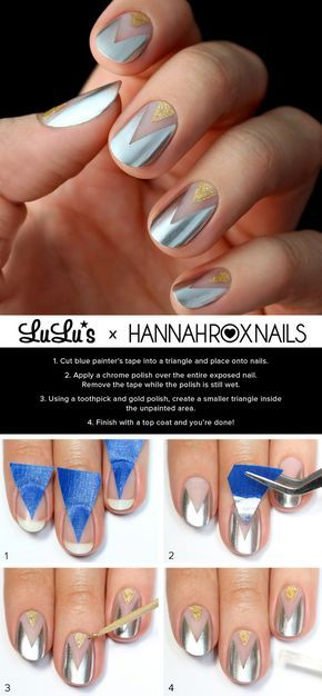 Gold and Silver Chevron Nail Art. This is such a easy and fun mani! Must try.