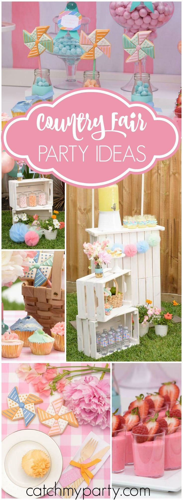 Wow! You have to see this pastel party with a country fair theme! See more party ideas at Catchmyparty.com!